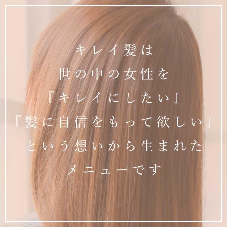 キレイ髪は世の中の女性を『キレイにしたい』『自信をもって欲しい』という想いから生まれたメニューです